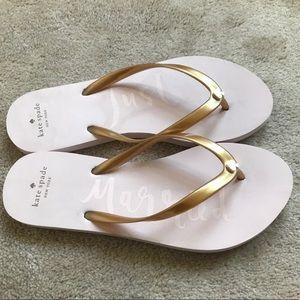 "Kate Spade ""Just Married"" Pink Flip Flops Size 7"